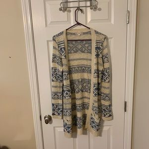 Aztec patterned long sweater